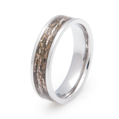 Men's Titanium Mossy Oak Bottomland Camo Ring