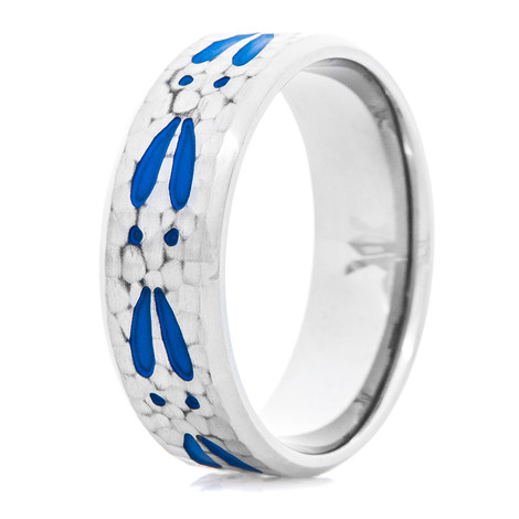 Men's Titanium Hammered Deer Tracks Ring with Blue