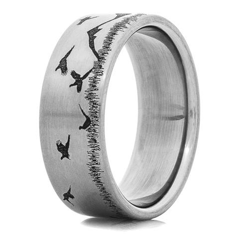 Titanium Pheasant Hunter Scene Ring
