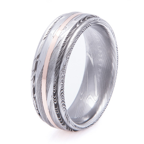 Men's Flat Grooved Edge Damascus Steel Ring with 14K Rose Gold Inlay