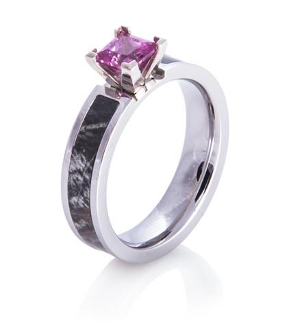 Women's Cobalt Chrome Pink Stone Camo Ring