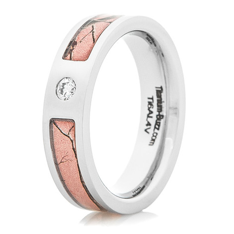 Women's Titanium Realtree® Pink Camo Diamond Ring
