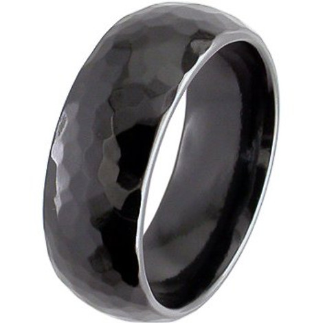 Hammered Black Zirconium Ring