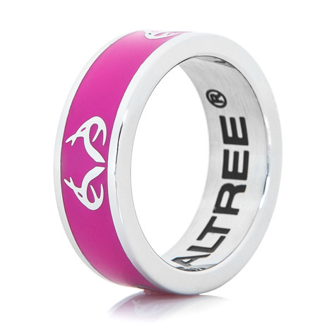 Women's Stainless Steel Pink Realtree Logo Ring
