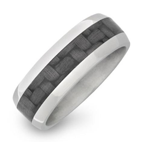 Men's Titanium Dome Ring with Carbon Fiber Inlay