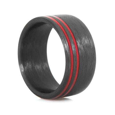 Offset Red Line Carbon Fiber Ring