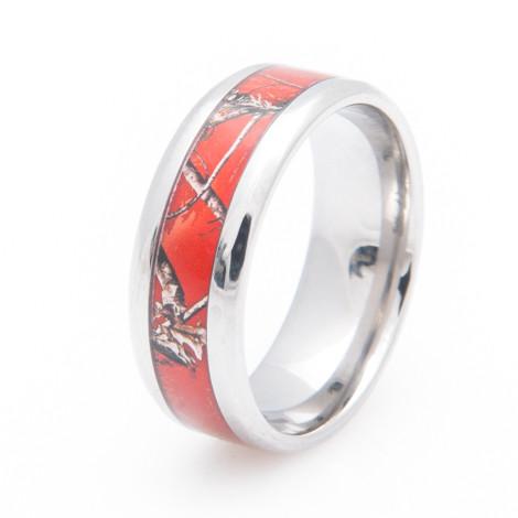 Women's Titanium Realtree® AP Red Camo Wedding Ring