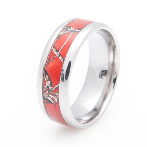 Women's Titanium Realtree® AP Red Camo Wedding Ring