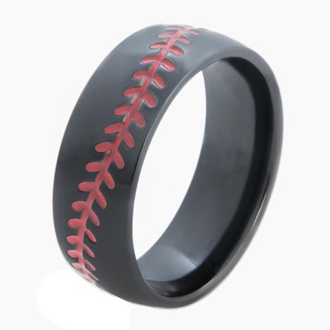 Men's Black Baseball Ring with Stitching