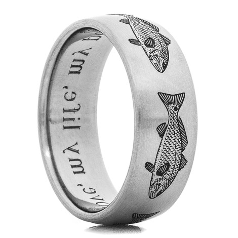 Men's Titanium Laser-Engraved Redfish Ring
