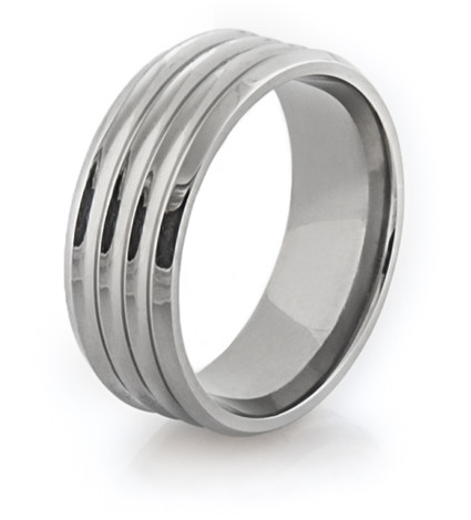 Men's Ribbed Titanium Ring