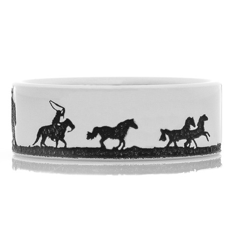 Men's Laser-Carved Titanium Rodeo Cowboy Ring