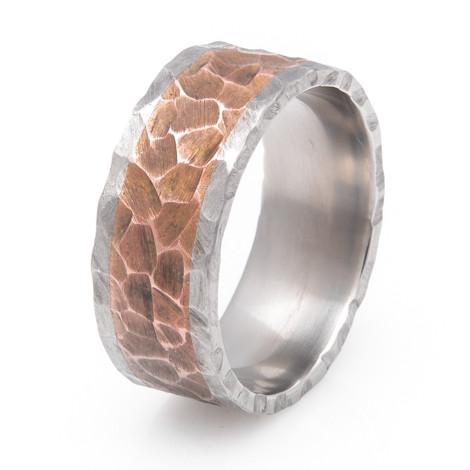 Men's Titanium and Copper Inlay Rock Finish Ring