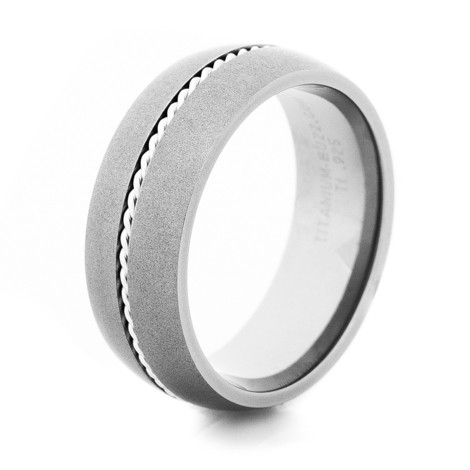 Men's Gunmetal Titanium Western-Style Ring with Sterling Silver Braid-8mm Wide