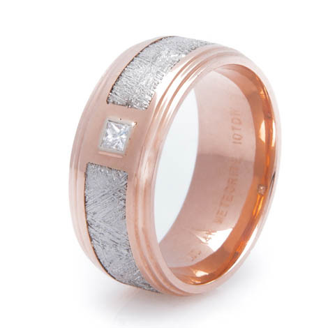 Men's 14K Rose Gold Diamond Gibeon Meteorite Ring