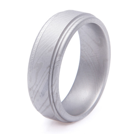 Men's Grooved Edge Gunmetal Finish Damascus Steel Ring