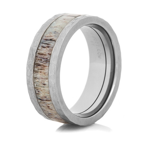 Men's Hammered Titanium Antler Inlay Ring