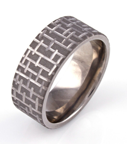 Sandblasted Textured Mens Ring