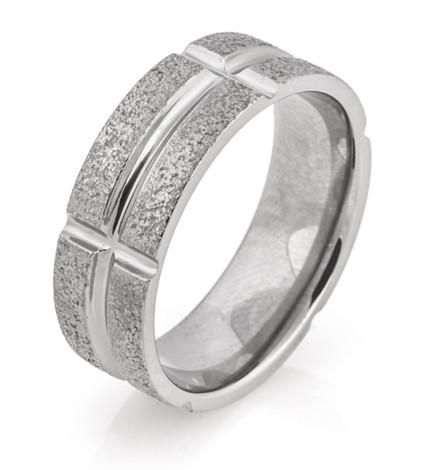 Polished Groove Segmented Arctic Titanium Ring