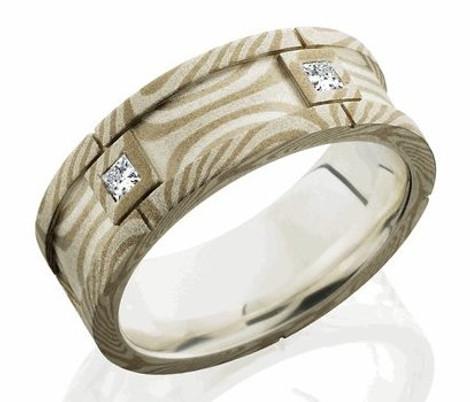 Men's Gold and Silver Mokume Gane Segmented Diamond Ring