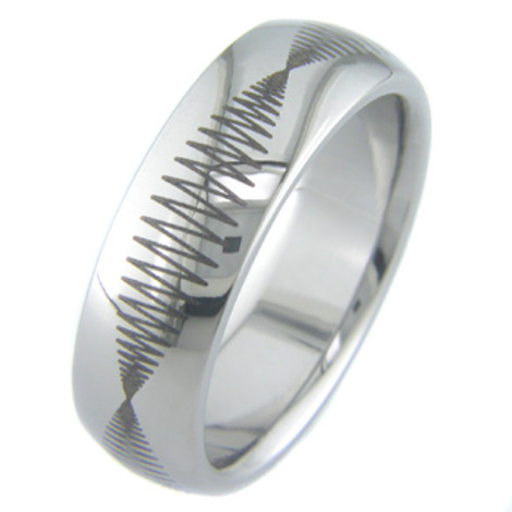 Seismic Titanium Laser Engraved Ring