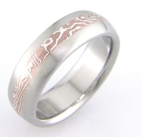 Silver and Copper Mokume Wedding Band