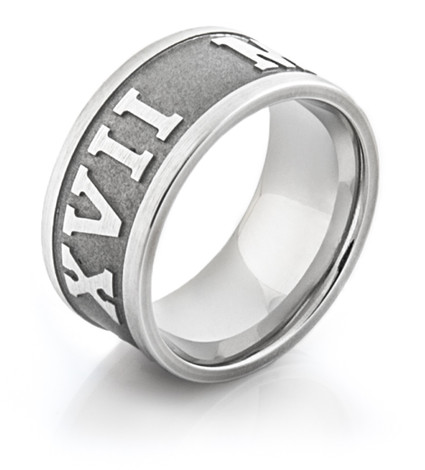Men's Cobalt Chrome Roman Numeral Ring