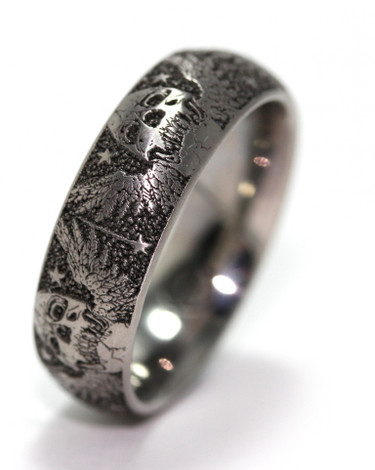 Men's Titanium Skull & Wings Band
