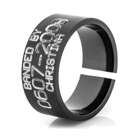 Men's Black Zirconium Split Back Duck Band Ring