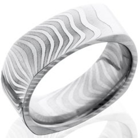 Men's Square Damascus Steel Tiger Stripes Ring