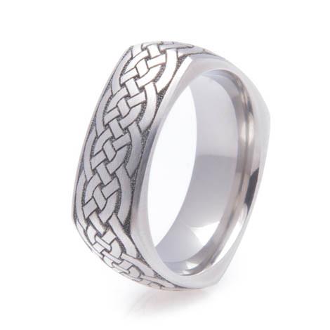 Square Titanium Celtic Ring