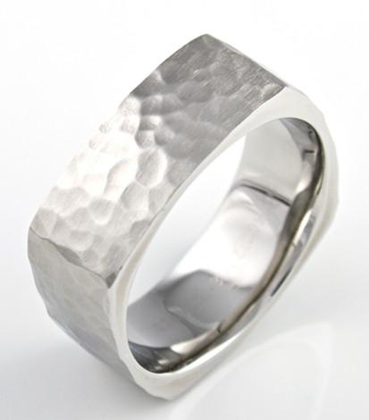 Square Cobalt Hammered Ring