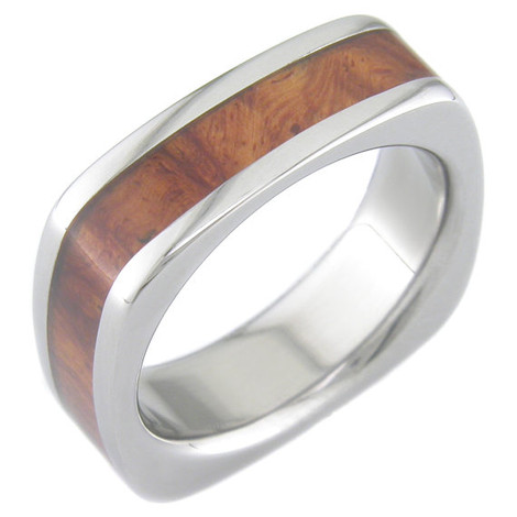 Men's Square Polished Titanium and Amboyna Wood Ring