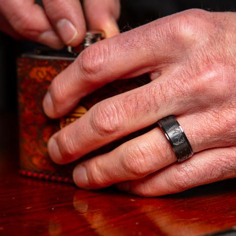 Men's Black Zirconium Step Down Two Tone Buck Ring