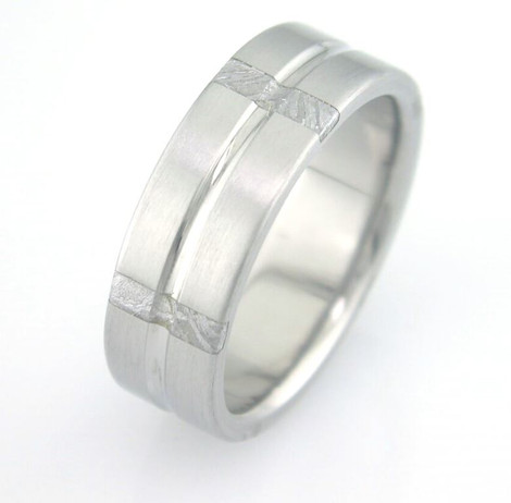 Men's Grooved Titanium Gibeon Meteorite Ring with Striped Inlays