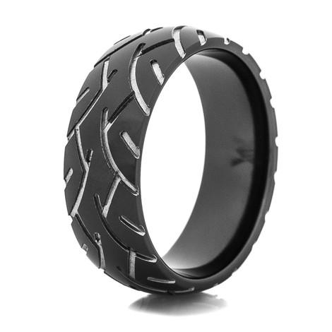 Men's Black Super Slick Tire Tread Ring