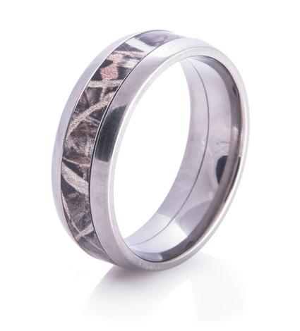 Men's Dome Titanium Camo Wedding Ring