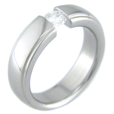 Women's Titanium Tension Set Ring with Beveled Edges