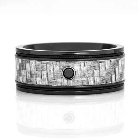 Men's Black Diamond Ring with Texalium Carbon Fiber Inlay