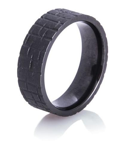 Textured Flat Black Wedding Ring