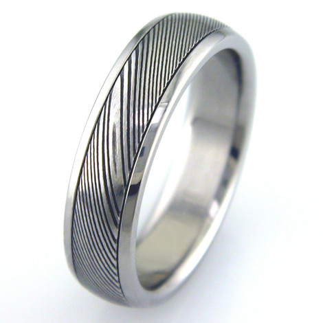 Men's Titanium Ring with Damascus Steel Inlay