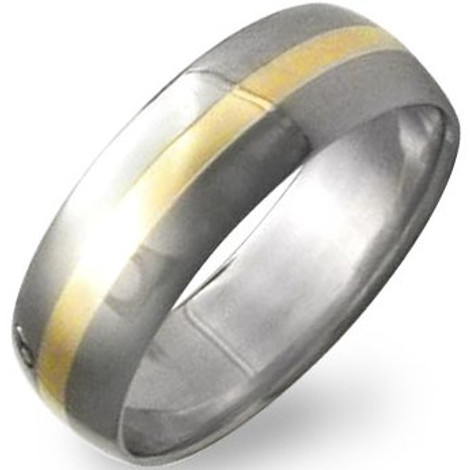 Titanium 18K Gold Inlay Ring