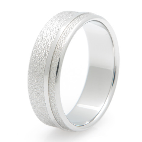 Titanium Frost Ring with Offset Inlay
