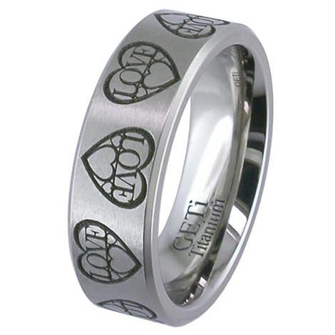 Titanium Laser Engraved Love Ring