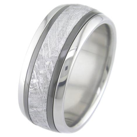 Men's Titanium Meteorite Ring with Dual Black Zirconium Inlays