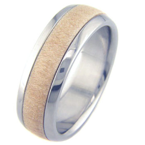 Men's Dome Profile Titanium and Birch Ring