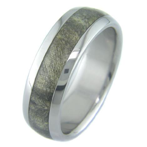 Men's Dome Profile Titanium and Buckeye Burl Ring