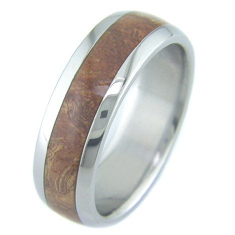 Men's Dome Profile Titanium and Burled Chechen Wood Ring