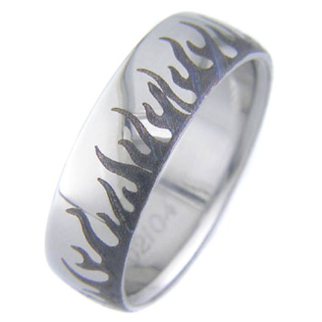 Laser Engraved Flame Ring