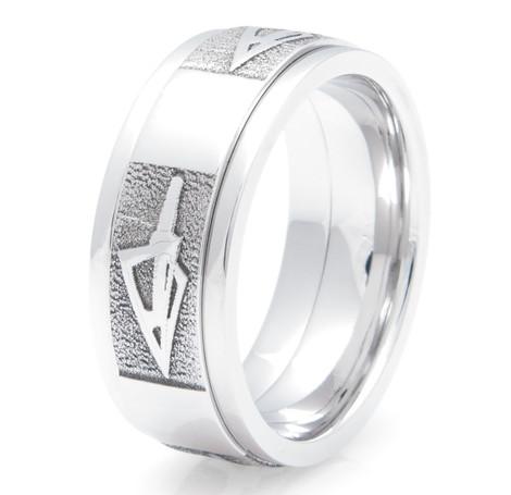 Men's Cobalt Chrome Broadhead Arrow Ring